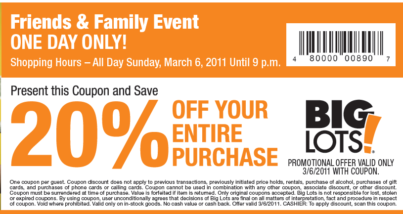 Big lots discount coupons