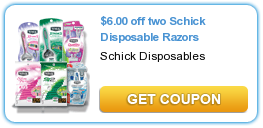 schick razor coupons High Value $6/2 Schick Razor Printable Coupon