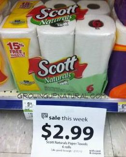 scott towels Scott Natural Paper Towels for 29¢ Per Roll at Walgreens