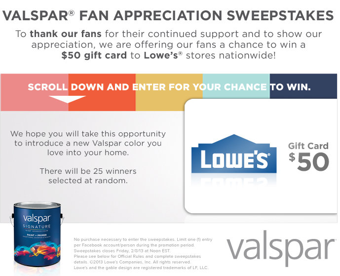 valsparappsweeps Valspar Fan Appreciation Sweepstakes (Win Lowes Gift Cards)