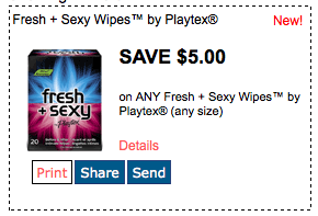Screen Shot 2013 03 13 at 7.25.05 PM $5/1 Fresh + Sexy Wipes by Playtex  =  Wipes for just 97 cents at Walmart
