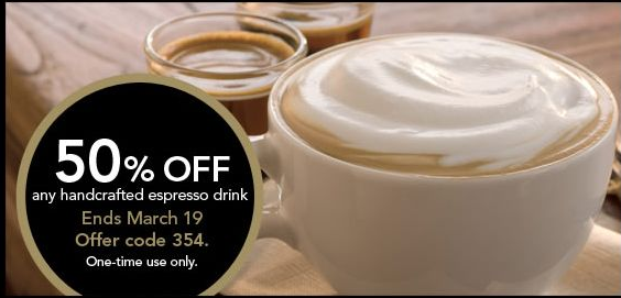 Screen Shot 2013 03 15 at 9.50.07 AM Starbucks Coupon for : 50% off Espresso Drink