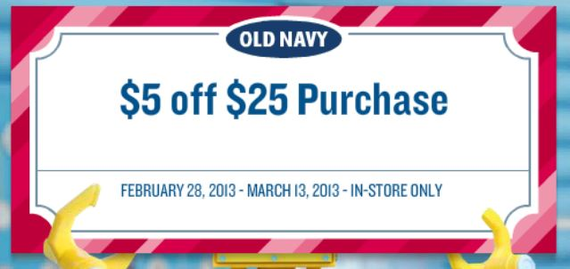 on New $5 Off $25 Purchase Old Navy Coupon