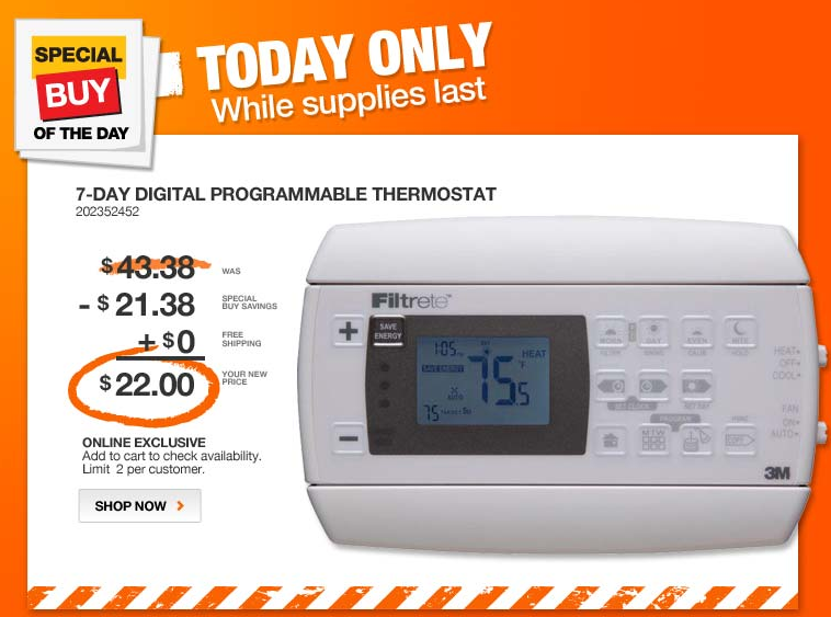 home depot Home Depot: 3M Filtrete 7 Day programmable Thermostats for $22 shipped (Today Only)
