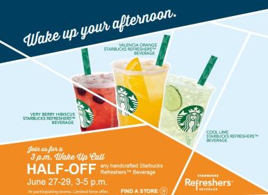 starbucks Starbucks 50% Off Refreshers Beverages 6/27   6/29