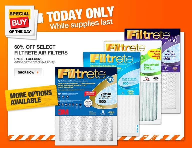 ENT SBOTD Hero Img Thur 60% off Filtrete Air Filters