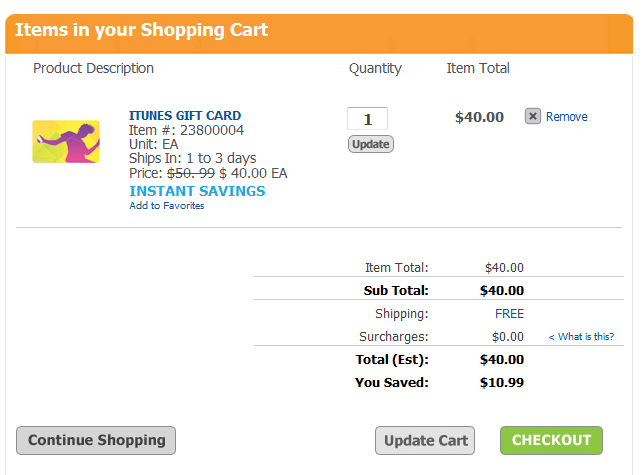 itunes checkout $50 iTunes Gift Card for $40 Shipped