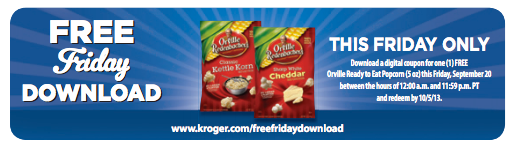 freebie friday Kroger Shoppers: FREE Orville Ready to Eat Popcorn with Digital Coupon (Load Now)