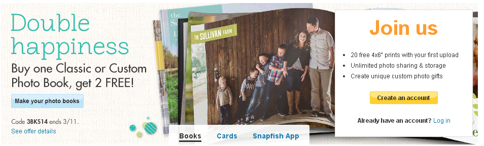 Snapfish: Buy1 Get 2 Photo Books FREE