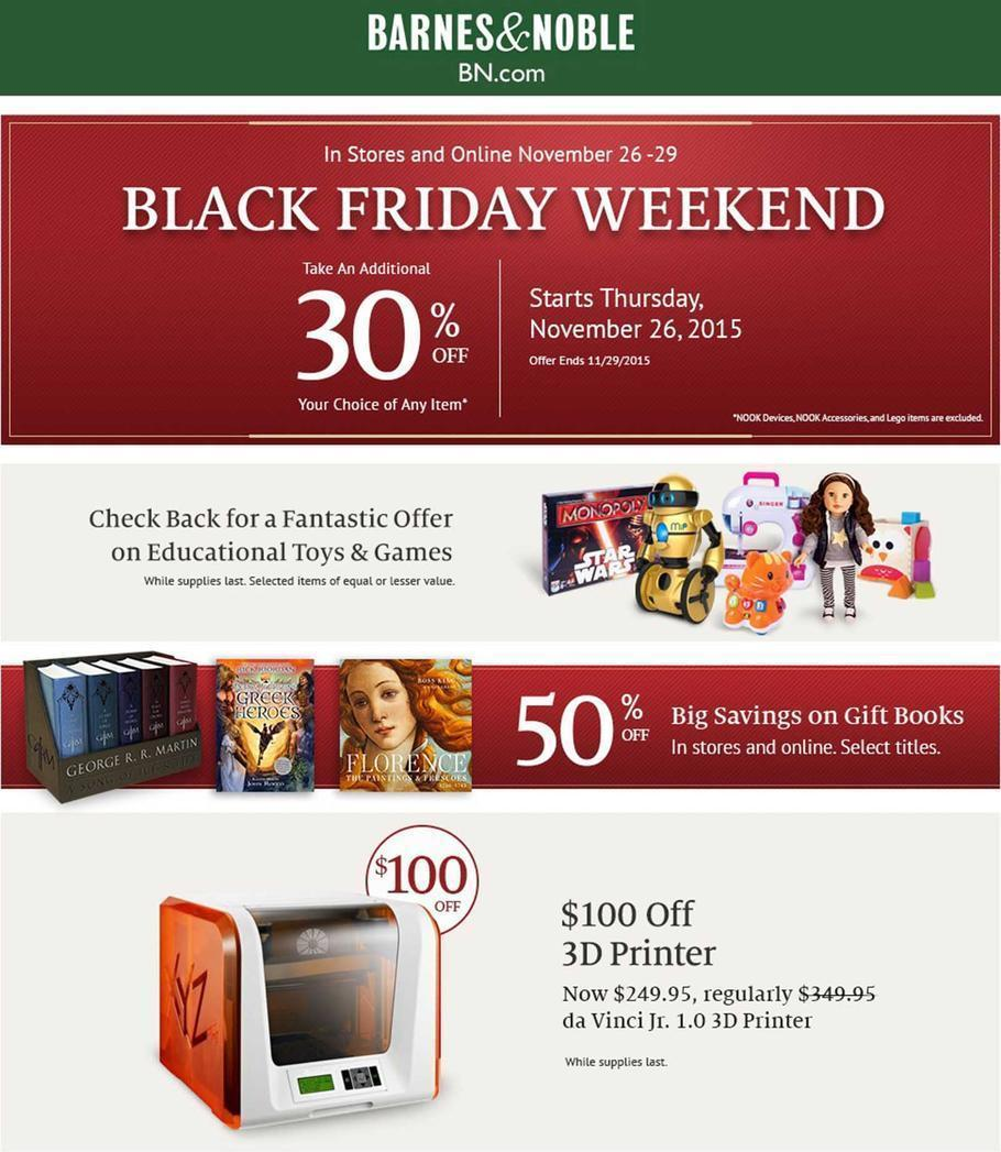 Barnes & Noble Black Friday 2015 Ad Page 1