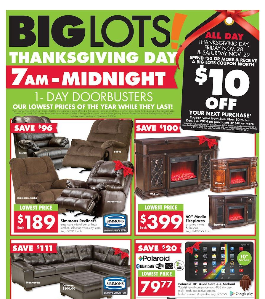Big Lots Black Friday Ad 2014 Pg 1