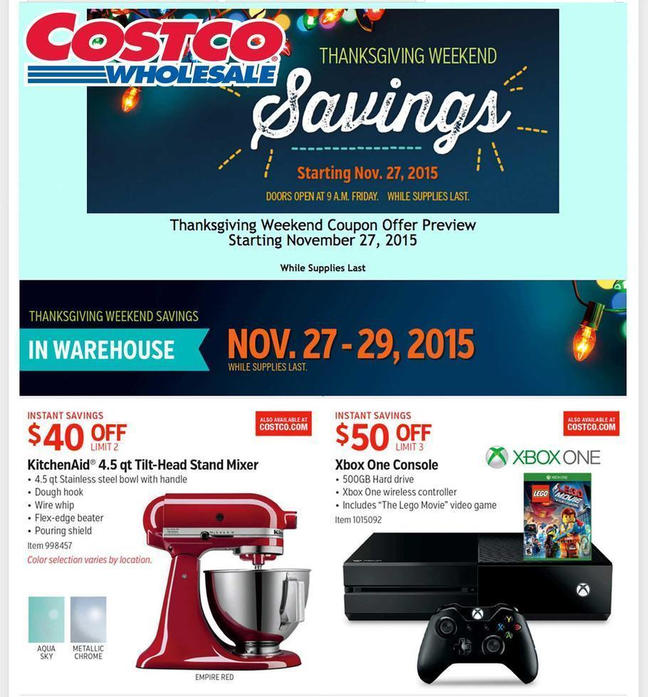 Costco Black Friday 2015 Ad Page 1