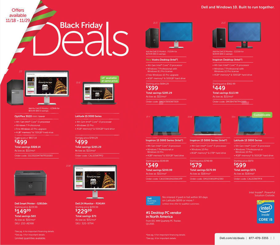 Dell Small Business Black Friday 2015 Ad Page 1