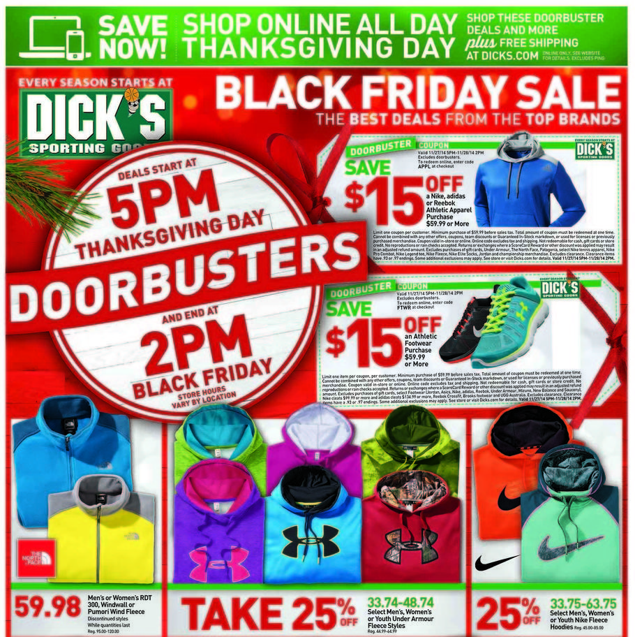 Dick's Sporting Goods Black Friday Ad 2014 Pg 1