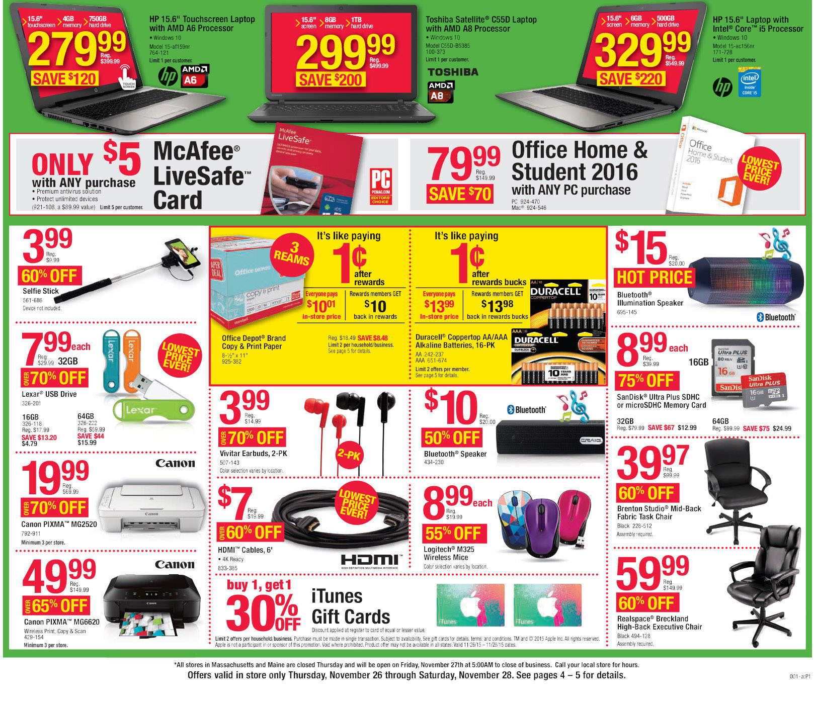 Office Depot / Office Max Black Friday 2015 Ad Page 2