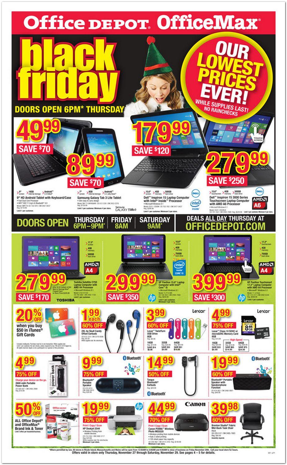 Office Max Black Friday Ad 2014 Pg 1