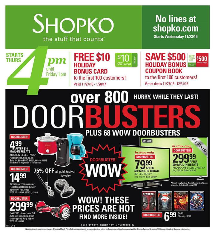 Shopko Black Friday Ad 2016 - Pg 1