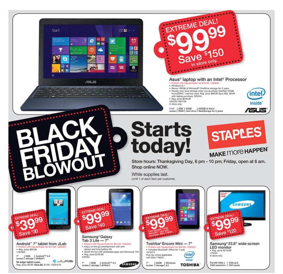 Staples Black Friday Ad 2014 Pg 1