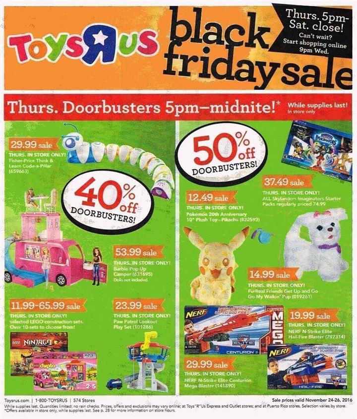 Toys R Us Black Friday 2016 Ad - Pg 1