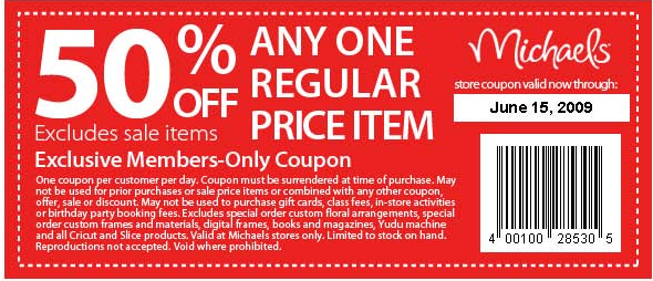 Michaels Craft Store 50 Off Coupon