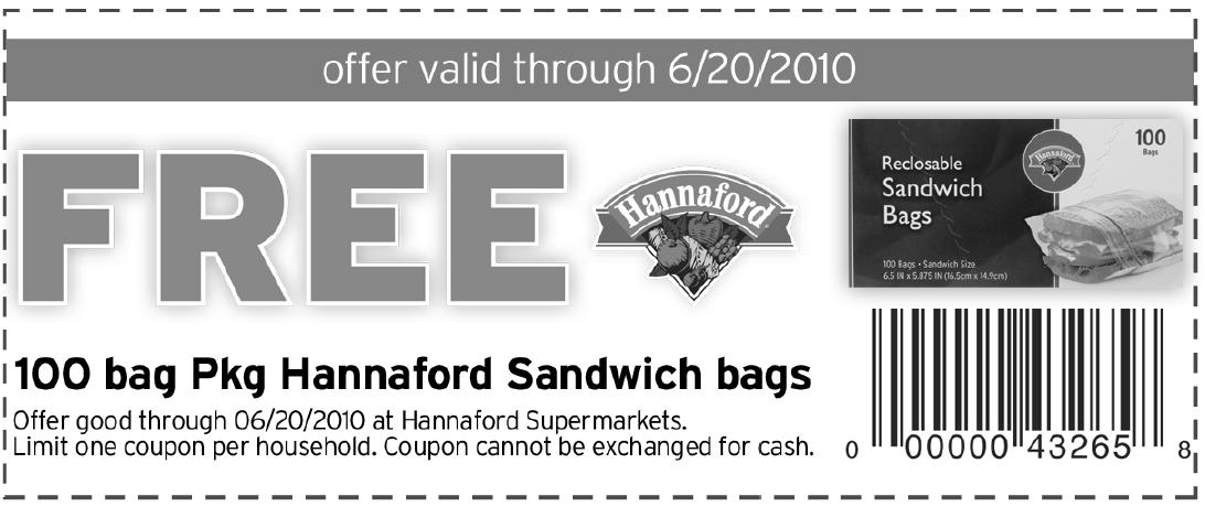 hannaford sandwich bags