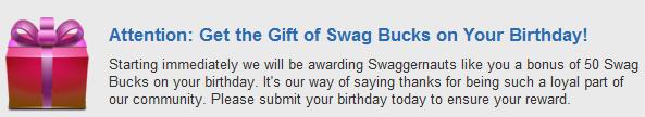swagbucks on your birthday