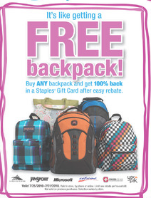 staples free backpack