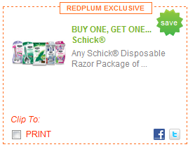 buy one get one free schick razor coupon