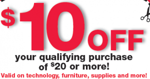 office depot just released a hot coupon for 10 off your purchase of 20 or more usually these type of coupons restrict the use of it on electronics but