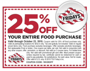 photo about Fridays Printable Coupon titled 25% off at TGI Fridays Preferred Feel With Monetary