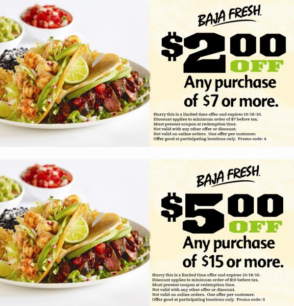 SALE Baja Fresh Gift Cards - Baja Fresh Gift Cards are available in any amount, greater than $ Reload at participating locations. Be sure to call ahead for availability.