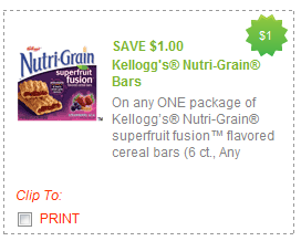 nutrigrain bars coupon