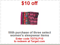 sleepwear target coupon