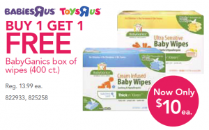 babyganics wipes 300x187 Babies R Us:  Two Big Boxes of BabyGanics Baby Wipes for $10