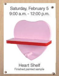 home depot painted heart shelf free kids workshop