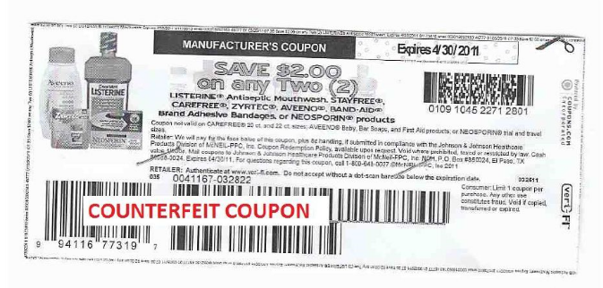 $2 off Johnson & Johnson Counterfeit Coupon Alert