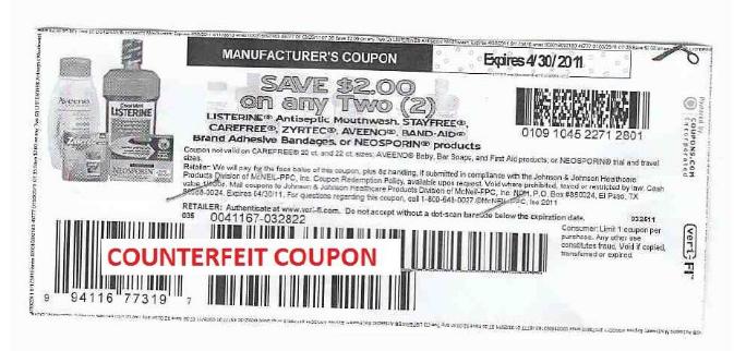 2 Off Johnson Johnson Counterfeit Coupon Alert