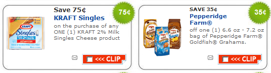 graphic relating to Goldfish Printable Coupons called Scorching Printable Discount coupons: Kraft Singles, Pepperidge Farms