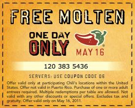Free Chili's Molten Cake