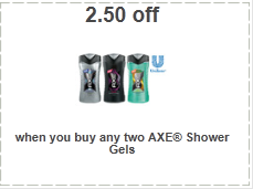 axe shower gel coupons $2.50 off Axe Shower Gel Coupon!
