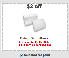 bed pillows target coupon