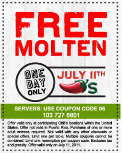 chilis Free Dessert at Chilis today!