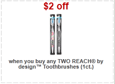 High Value Reach Toothbrush Coupons