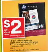 staples paper HP Multipurpose Paper (500 sheets) $1 at Staples after coupon and rebate!