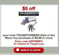 Screen shot 2011 09 26 at 10.48.06 AM 1 $5 off Transformers Toy Printable Coupons | deals Start at $2.49