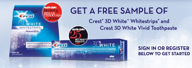 Free Sample of Crest White 3D White Strips and Toothpaste