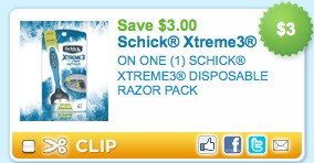 schick razor printable coupon