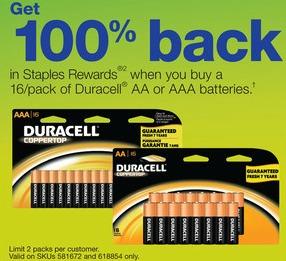 duracell batteries staples