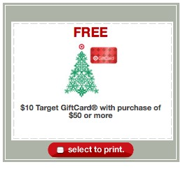 target free $10 when you spend $50
