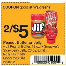 jif pb Walgreens: JIF Peanut Butter $2 per Jar
